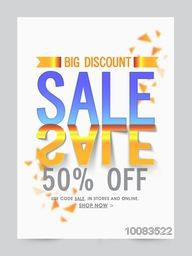 Big Discount Sale Poster, Sale Banner, Sale Flyer, Creative Sale Typographical Background, Sale Sticker, Sale Label, 50% Off, Sale vector illustration.