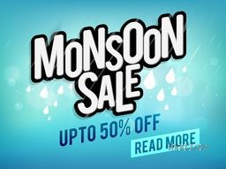 Monsoon Sale and Discounts, Upto 50% Off, Creative Typographical Background with raindrops, Stylish Poster, Banner or Flyer design.