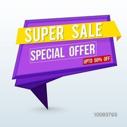 Super Sale with Special Offer, Upto 50% Off, Creative Paper Tag, Ribbon, Banner, Poster or Flyer layout, Vector illustration.