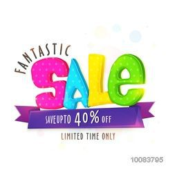 Fantastic Sale with 40% Discount Offer for limited time only, Creative colorful typographical background with ribbon, Vector illustration.