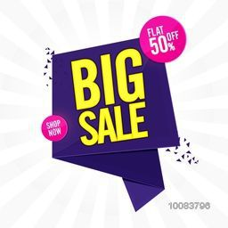 Big Sale with Flat 50% Off, Creative Paper Tag, Banner, Poster, or Flyer design, Vector illustration.