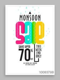 Monsoon Sale and Discounts for this weekend, Save upto 70%, Creative Poster, Banner or Flyer layout, Vector illustration.