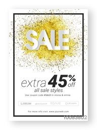 Sale Poster, Banner or Flyer design with Extra 45% Off, Creative Typographical Background with golden glitter, Vector illustration.