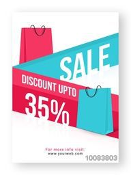 Creative Sale Poster, Banner or Flyer design with 35% Discount Offer, Vector illustration with paper shopping bags.