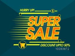 Super Sale with Discount Upto 50% Off, Creative Poster, Banner, Flyer or Pamphlet with glossy Typography.