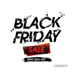 Black Friday Sale with Discount Upto 50% Off, Creative Typographical Background, Useable for Poster, Banner, Flyer design.