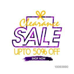 Clearance Sale Flyer, Banner, Poster or Pamphlet, Discount Upto 50% Off, Vector Illustration with creative Typography design.