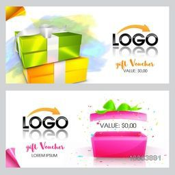 Creative Gift Voucher or Coupon template set with glossy presents and space for your professional images, Can be used as Sticker, Tag or Label design.