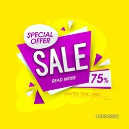 Special Offer Sale Banner, Poster, Tag, Sticker, Label, Upto 75% Off for Limited Time Only, Vector Illustration.