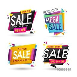Set of Super Biggest Saver, Mega Sale Labels, Tags, Banners, Different Discount Offers, Vector Illustration.