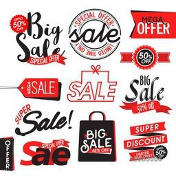 Set of Sale Stickers, Labels, Tags, Banners, Ribbon, Typography, Vector Illustration.