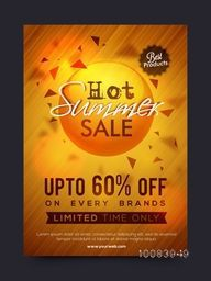 Hot Summer Sale and Discounts, Summer Sale Poster, Sale Banner, Sale Flyer, Limited Time Sale, Upto 60% Off on every brands, Best Products Sale, Shiny Sale Background, Creative Sale vector illustration.