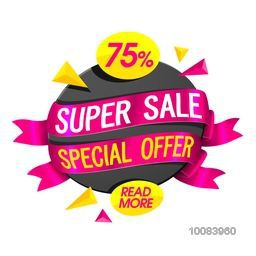 Stylish Sticker, Tag or Labels with glossy ribbons, Special 75% Offer, Vector illustration. Usable for Poster, Banner, Flyer design.