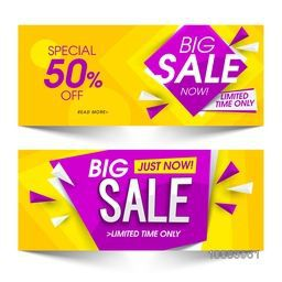 Big Sale with Special Offers for Limited Time Only, Glossy Website Header or Banner Set, Vector illustration.