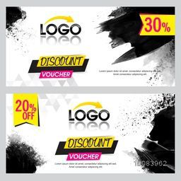 Set of creative Discount Voucher or Gift Coupon Template layout with abstract paint stroke and Different Discount Offers, Vector illustration.
