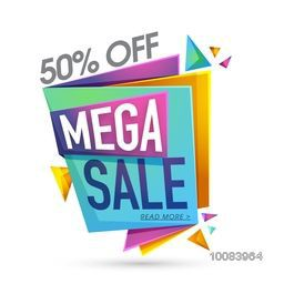 Glossy Mega Sale Paper Banners with 50% Discount Offers, Usable for Poster, Flyer, Pamphlet design.