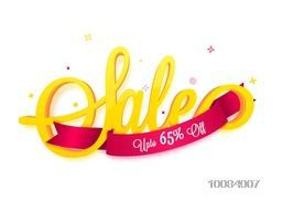 Creative 3D Text Sale with Glossy Ribbon showing 65% Discount on white background, Can be used as Poster, Banner or Flyer design.