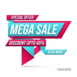 Special Offer Mega Sale with Discount upto 45%, Creative Paper Tag or Banner design on white background, Vector illustration.