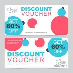 Set of creative Discount Voucher or Gift Coupon template layout with abstract pattern, Vector illustration.