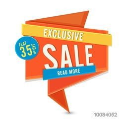 Exclusive Sale with Flat 35% Off, Creative glossy Paper Tag, Label or Banner design, Vector illustration.