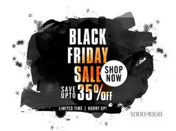 Black Friday Sale with 35% Discount Offer, Creative Poster, Banner or Flyer with watercolor abstract design.