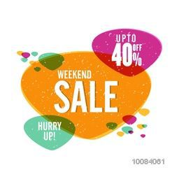 Weekend Sale with Upto 40% Off, Colorful Poster, Banner or Flyer design, Vector illustration.