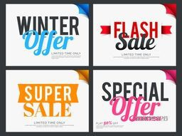 Set of creative Sticker, Tag or Label design for Sale and Discount Offers, Stylish different typographical background collection, Vector illustration.