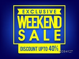 Exclusive Weekend Sale with Discount upto 40%, Creative typographical shiny blue background, Stylish Poster, Banner or Flyer design.