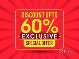 Exclusive Special Offer with Discount upto 60%, Creative Sale Poster, Banner or Flyer design, Typographical rays background.