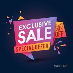 Creative Glossy Paper Tag or Banner design of Exclusive Sale with Special Offer, Flat 50% Off, Vector illustration.