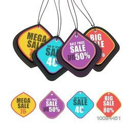 Set of creative colorful Stickers, Tags or Labels design of Sale and Discount on white background, Vector illustration.