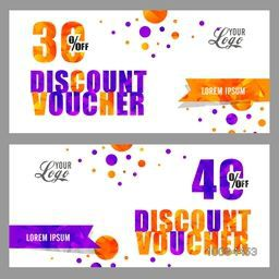 Creative Discount Voucher or Gift Coupon template design with space for your text or images.