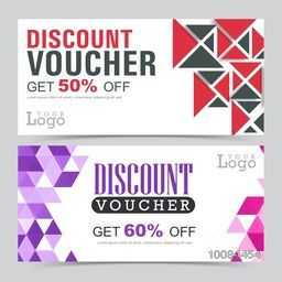Set of creative Discount Voucher or Gift Coupon template layout with abstract pattern, Vector illustration in two different styles.