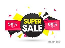 Super Sale with Special Discount Offers, Creative Paper Tag, Sticker, Label or Ribbon design, Vector illustration.