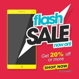Flash Sale with 20% Off, Creative Poster, Banner or Flyer design with illustration of glossy smartphone, Vector illustration.