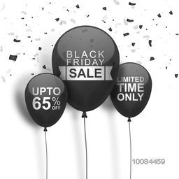 Black Friday Sale with Upto 65% Off for Limited Time Only, Glossy flying balloons on confetti background, Can be used as Poster, Banner or Flyer design.