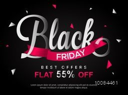 Black Friday Sale with Best Offers Discount, Flat 55% Off, Creative typographical background, Stylish Poster, Banner or Flyer design.