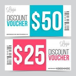 Creative Discount Voucher or Gift Coupon set with space for your professional image, Vector illustration.