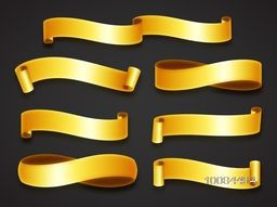 Glossy Golden Ribbons set on grey background, Vector illustration.
