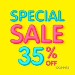 Special Sale with 35% Off, Creative Poster, Banner or Flyer design, Vector illustration.