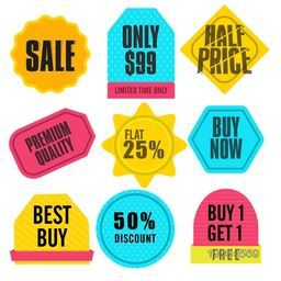 Set of colorful Sale Stickers, Tags or Labels design in different shapes and styles on white background.