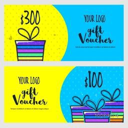 Creative Gift Voucher, Coupon or Certificate in yellow and sky blue colors with illustration of wrapped gifts.