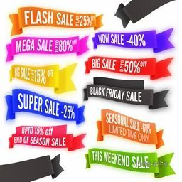 Set of glossy colorful Sale and Discount Ribbons on white background, Vector illustration.