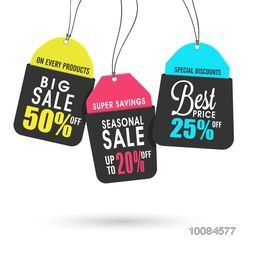 Set of creative different Sale and Discount Tags or Labels design, Vector illustration.