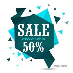 Creative Green Paper Tag or Banner design of Sale with Discount upto 50%, Vector illustration.