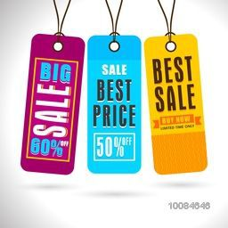 Set of creative colorful Hang Tags or Labels design for Big Sale and Discounts.