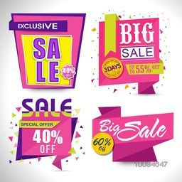 Set of Creative Paper Tags, Labels, Ribbon and Banners of Sale or Discounts on grey background.