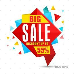 Big Sale with Discount upto 55%, Creative colorful Paper Tag, Banner, Label or Poster design, Vector illustration.