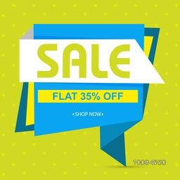Creative Paper Tag, Banner or Poster design of Sale with Flat 35% Off, Vector illustration.