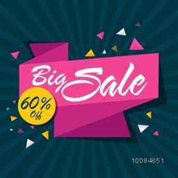 Big Sale with 60% Off, Creative Pink Ribbon on rays background, Can be used as Poster, Banner or Flyer design.
